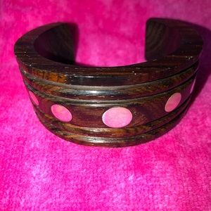 Artisan Wood Cuff Bracelet with Silver Discs.